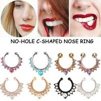 Crystal Fake Nose Ring Septum Nose Hoop Ring Piercing Body Jewelry F1F2