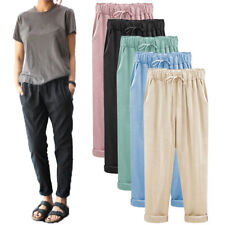 Women Casual Trousers Loose Elastic High Waist Harem Cotton Linen Pants