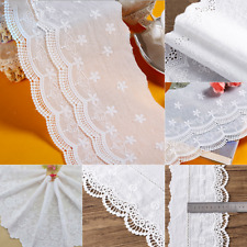 White Cotton Lace Cloth Trim Embroidered Cotton Fabrics Wedding Dress Sewing DIY