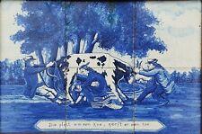 ANTIQUE RARE DUTCH DELFT BLUE WHITE TILES FRAMED 6 TILE PANEL TABLEAU COW C1900