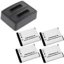 Duo Ladegerät + 4 Akkus Typ Nikon EN-EL19 Ladestation Accu Battery Ersatzakku