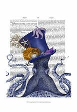 OCTOPUS NAUTICAL HAT ART PRINT BY FAB FUNKY antiquarian book whimsical poster