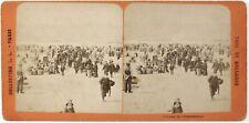 La Haye Plage de Scheveningue Pays-Bas Photo Stereo Th1L8n1 Vintage Albumine