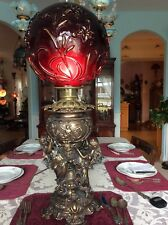 "Rare Antique Bronze ""Dancing Maidens""Lamp Base-Ultra Rare Piegon Blood Shade"