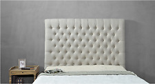 Aragon Bed Head Double Padded Upholstered Fabric Button Studded Beige Headboard