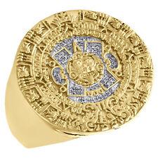 Mens 925 Yellow Sterling Silver Genuine Diamond Aztec Calenda Pinky Ring 1/10 CT