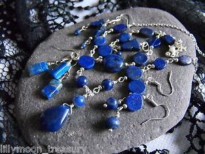 Handcrafted Lapis lazuli sodalite blue jade gemstone necklace earrings pendant