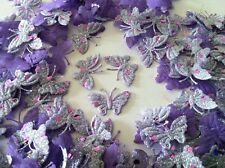 20 Lilac Fabric Glittery Dotted Butterflies for Card, Scrapbooking and Wedding