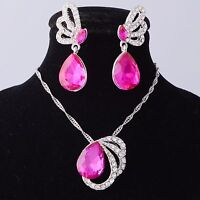 SWAROVSKI CRYSTAL Pear Pink Earrings Pendant Necklace Set Gold Plated New n Box