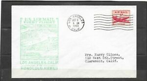 1950 F.A.M. 30 First Flight Air Mail Cover, Los Angeles - Honolulu Back-stamp