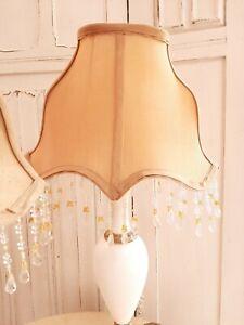 Oval gold bead fringe fabric lampshade