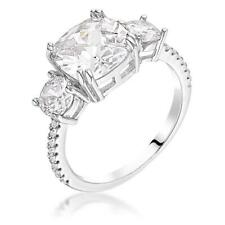 3.65 CW Triple 3 Stone Cushion Cut CZ Royal Bridal Anniversary Silver Ring Sz 6