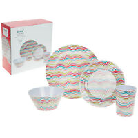 16pc Brushed Stripe Melamine Dinner Set Outdoor Picnic Plates Bowls Dinnerware