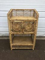 Vintage Mid Century Plant Stand Boho Chic Wicker Rattan Shelf Book Case Peacock