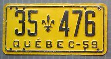 Quebec 1959 License Plate # 35-476