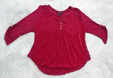 Nine West Jeans Women Size XXL Burgundy Velvet Front Accents Roll Tab Sleeve Top