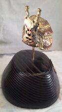 Brutalist Metal Snail Sculpture Mounted On Wood Signed Brass Label Segal 1972