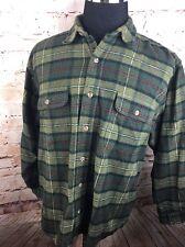 Field and Stream Shirt XL Olive Green Heavy Flannel Plaid Lumberjack Cotton C3