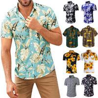 Mens Hawaiian Floral T Shirt Summer Short Sleeve Beach Casual Tops Blouse Tee