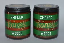 2 BATH & BODY WORKS SMOKED HONEY WOODS SCENTED CANDLE SINGLE WICK 7 OZ BEESWAX
