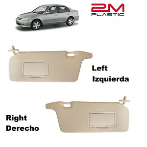Sun Visor For Honda Civic 2001 2002 2003 2004 2005 Left + Right Beige 2MPLASTIC