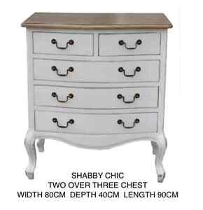 Shabby Chic Chest Of Drawers 2 Over 3 Drawer Chest White  Bedroom Furniture
