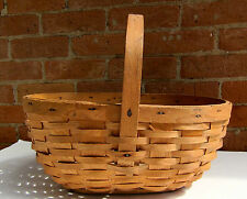 ANTIQUE VINTAGE SPLINT MARKET BASKET.    WOOD BASE.  AAFA  BEAUTIFUL! #2