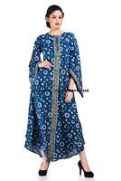 Women Indigo Blue Floral Dress Ladies Evening Party Long Maxi Dress Indian Maxi