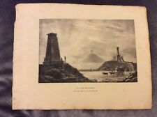 Antique Book Print - The Three Monuments at Waterloo - 1830
