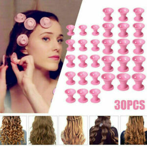 30PCS DIY Silicone Hair Curlers Set Kit Soft Rollers Hair Care No Hea E7D3