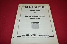 Oliver Tractor No. 61 Grain Drill Dealer's Parts Book Manual Bvpa