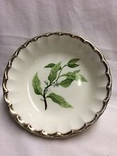 Gold Rimmed Bowl with Green leaves and small White Flowers