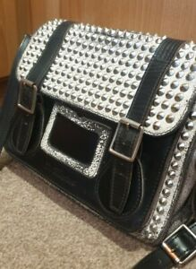 """WOW!!!! LOOK!! Dr Martens 11"""" Black/White Leather Studded Satchel/Bag"""