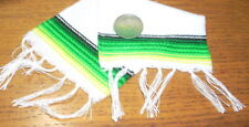 Serape Blanket Large White & Green 1:12 Dollhouse Mexican Miniature Rug Carpet