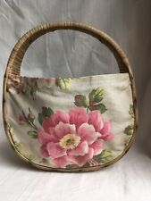 Vintage 1940's Woven Straw Wicker Basket Purse Bag Fabric Flowers Roses Beach