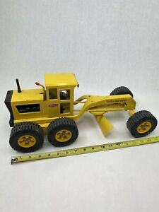 "Vintage 70's Tonka Yellow Road Grader Steering And Adjustable Blade 17"" Long"