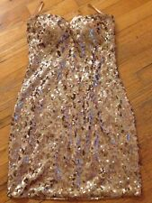 NWT As U Wish Sleeveless Gold Sequin Fitted Dressed Dress Size Medium