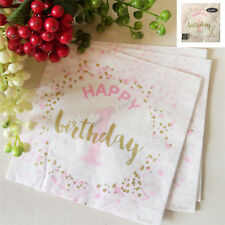 FIRST 1ST BIRTHDAY LUNCH NAPKINS PINK CONFETTI 16PK PARTY GIRL LARGE SERVIETTES
