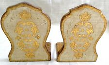 Vintage Tole Painted Gilt Wood Florentine Bookends, Gold & White - Italy