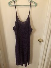 DELTA BURKE COLLECTION Size 2X Stretchy PURPLE See-Thru Lace Chemise Nightgown