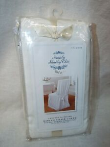 Simply Shabby Chic Dining Chair Cover Rachel Ashwell White Crochet Jacquard NEW