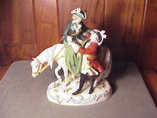 VINTAGE GERMAN PORCELAIN FIGURINE ROMANTIC GROUP COLONIAL LOVERS, LADY ON HORSE