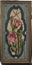 Vintage Framed Floral Stained Glass Needlepoint