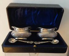 Antique Edwardian Solid Silver Salt Cellars Spoons Leather Box by John Gilbert