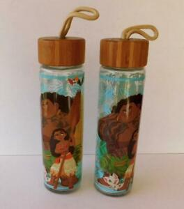 Lot of 2 Disney Store Moana Maui Glass 24 oz Water Bottle w/Wood Cap NEW w/label
