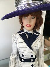 "FRANKLIN MINT TITANIC 16"" Vinyl Rose Doll in Boarding Ensemble & Stand"