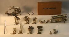 Vintage Lot Greist Singer Sewing Machine Rotary Attachments 13 Pieces With Box