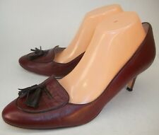 Boden Wo's EU 42 Red Leather Slip-On Tassel Loafer Heels Casual Work Pumps Shoes