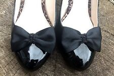 Black Shoe Clips for Shoes Satin Bows for Heels Flats Burlesque Pinup Formal
