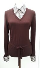 George Ladies Size 14 Chocolate Brown Animal Print Combi Blouse Jumper Top Knit